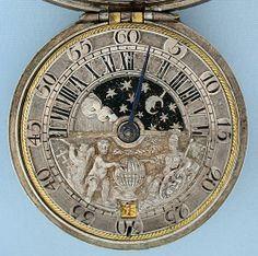 Rare antique Dutch sun and moon pocket watch by G. Knip, ca. 1750