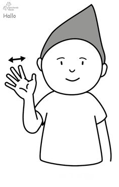 Hallo Babyzeichen Babyzeichensprache Gebärdensprache Babygebärden Kindergebärden GuK Baby Kids, Snoopy, Fictional Characters, Learn Sign Language, School, Fantasy Characters