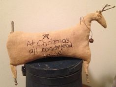 Primitive Christmas Reindeer by Rabbithollowprims on Etsy, $24.95