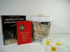 Retro Old Mr. Boston Ice Bucket with Official Bartenders Guide & Grossmans Guide to Wines Beers Spirits - Vintage Large Ice Bin 2 Books Set $79.00 by DivineOrders