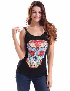 e98098186e005c Women O Neck Sleeveless Skull Printing Sweater Off Shouder Halter tops  Fashion Casual Vest Black