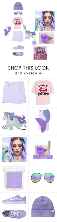 """""""Purple princess with unicorns {Created by Camila}"""" by antlia-caelum-pyxis ❤ liked on Polyvore featuring Versace, River Island, Moschino, Forever 21, Too Faced Cosmetics, RMK, Yves Saint Laurent, Vans, Norse Projects and Invicta"""
