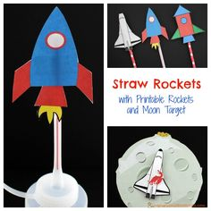 Learn how to make straw rockets with these easy instructions. Kids will have fun blasting them to space. Try to land your straw rocket on the moon target. Planets Activities, Space Activities For Kids, First Day Activities, Library Activities, Preschool Activities, Preschool Classroom, Kindergarten, Art For Kids, Crafts For Kids