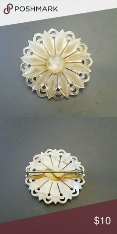 Vintage 70s mother of pearl edelweiss brooch Purchased in Austria,  EUC Vintage Jewelry Brooches