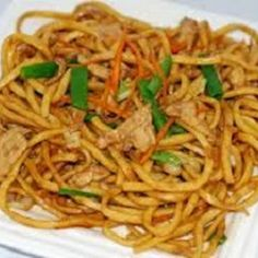 Lo Mein Noodles Recipe | Key Ingredient    ½ pound vermicelli or spaghetti   3 tablespoons peanut oil, divided   2 tablespoons sesame oil   3 tablespoons soy sauce   1 teaspoon sugar   1 teaspoon cornstarch   ½ teaspoon ground ginger   3 garlic cloves, minced   4 scallions, chopped (about ½ cup)   ½ cup diced red bell pepper