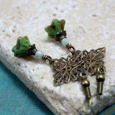 Teal Flower Shaped Czech Glass Bead Earrings by carolinascreations, $5.00