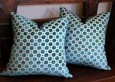 Turquoise Blue Cut Velvet and Silk Pillow Cover 18 x 18