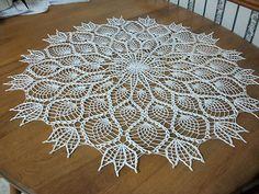"Vintage Handmade Crochet Table Doily Off White 33"" Beautiful 1950'S | eBay"