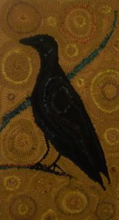 Laura Kenney Rugs: July 2012 I like the background circles Scary Birds, Rug Hooking Designs, Hand Hooked Rugs, Wool Art, Weaving Textiles, Penny Rugs, Rug Sale, Wool Applique, Bird Art