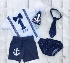 White and blue Nautical first birthday outfit set - anchor first birthday outfit