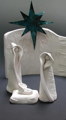 burk'art clayworks nativity,white clay nativity scene, handmade usa
