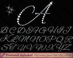 Diamond alphabet clipart, glitter alphabet clip art, wedding invitation, glitter letters graphics, digital instant download, jpg png 300dpi