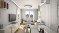 Os presentamos varios renders que muestran lo que sería el aspecto general del salón de un piso piloto perteneciente a un bloque de viviendas de futura construcción en la ciudad de Pontevedra.