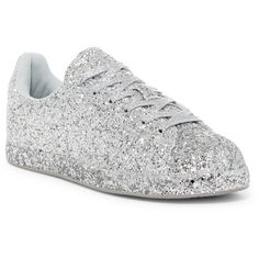 Cape Robbin Snappy Glitter Sneaker ($33) ❤ liked on Polyvore featuring shoes, sneakers, silver, cushioned shoes, lacing sneakers, laced up shoes, silver sneakers and silver glitter shoes