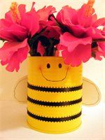 """bee made from a can...flower pens or real flowers. Would be a super cute end of yr gift """"Thanks for bee-ing a great teacher"""""""