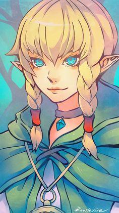 Linkle by Rousteinire Key: Link, The Legend of Zelda, Game Art, Fanart, Female, Braids, Blonde Hair, Illustration, Elf, Elven