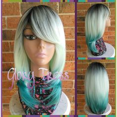 Ready to Ship Straight Layered Full Wig Ombre Green Wig Side Swoop... ($69) ❤ liked on Polyvore featuring beauty products, haircare, hair styling tools, bath & beauty, green, hair care and wigs