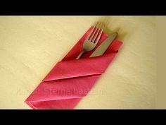 Servietten falten: Bestecktasche - Tischdeko - Weihnachten - Weihnachtsdeko - YouTube