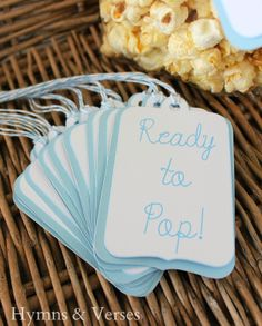 """""""READY TO POP"""" Popcorn Favors for Baby Shower - available in Blue or Pink"""