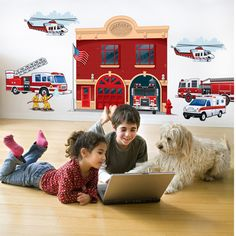 Create-A-Mural -  Fire Station Mural, $97.00 (http://www.create-a-mural.com/fire-station-mural.html/)