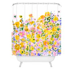 Amy Sia Flower Fields Sunshine Shower Curtain | DENY Designs Home Accessories