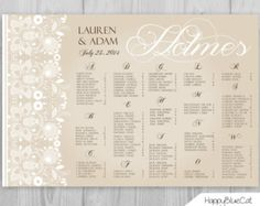 Wedding Seating Chart   FREE RUSH SERVICE 12 Hours   Rustic Lace Wedding  Seating Chart,