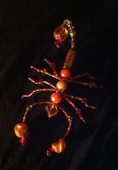 Orange Beaded Scorpion by BugsNBronze on Etsy  Scorpion, design, craft, diy, halloween