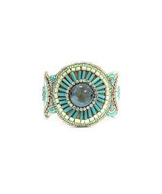Look at this Turquoise & Tan Beaded Cuff Bangle on #zulily today!
