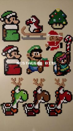 Ähnliche Artikel wie COMPLETE SET of 10 Handmade Nintendo Christmas Ornaments auf Etsy Liven up your Christmas tree with my custom Nintendo-themed ornaments! These sprites feature tweaks to their original designs that add little. Hama Beads Mario, Diy Perler Beads, Christmas Perler Beads, Beaded Christmas Ornaments, Handmade Christmas, Ornaments Image, Christmas Cookies, Perler Bead Templates, Perler Patterns