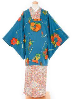 青の地 油彩のような花 道行コート - からん::アンティーク着物・リサイクル着物の通販サイト
