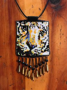 Peyote beaded tiger head necklace