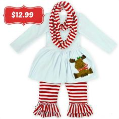 """$12.99 when you """"SHARE""""! Sizes Baby to 12 years old! This darling """"Reindeer Shirt"""", Pant &Scarf SET isfor photos, holiday parties, school or everyday wea"""