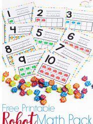 Robot Mini Eraser Math Activities for Preschoolers