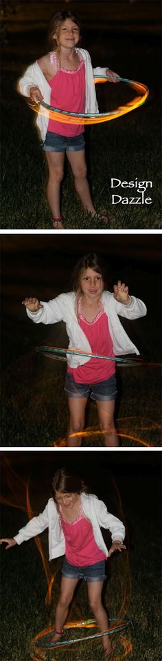 Awsome idea to do in the dark- just attach a couple of glowsticks together and tape them to a hula hoop!