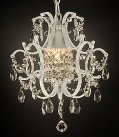 WHITE WROUGHT IRON CRYSTAL CHANDELIER LIGHTING COUNTRY FRENCH #crystalchandelier #Country