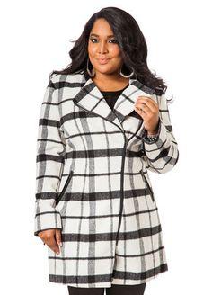Ashley Stewart Collarless Plaid Coat