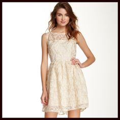 """A Line Party Dress Lace Cocktail Gold Metallic NEW WITH TAGS  RETAIL PRICE: $98   Jack by BB Dakota For Anthropologie Party Dress Lace Overlay Gold Ivory A-line Cocktail   * Fit-and-flare style w/back zipper closure   * Lace overlay style; Lined   * Embroidered gold details   * Measure about 32.5"""" long; Tagged size 4 (S) will fit sizes 2-4.   * Boat neck front   * Vintage style Fabric: 100% Polyester Color: Ivory Gold Combo   No Trades ✅ Offers Considered*/Bundle Discounts✅  *Please use the…"""