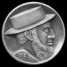 Ron Landis - Amish Man (Obverse) - Carving On 2 ounce silver round (For Bill Fivaz active carver set) Hobo Nickel, Silver Rounds, Coins, Carving, Art, Art Background, Rooms, Wood Carvings, Kunst