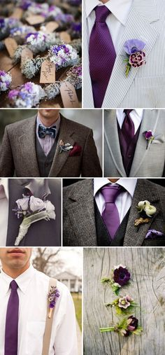 Plum + Purple Wedding Color Ideas [tps_header]Purple is one of the most regal wedding colors for ceremonies and receptions. There is something about this elegant hue that brings in great energy and provides a cool, relaxed atmosphere. If you're a purp. Wedding Men, Wedding Groom, Fall Wedding, Wedding Styles, Dream Wedding, Grey Wedding Suits For Men, Men Wedding Attire, Wedding Blog, Wedding Favors
