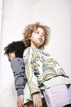 Graphic Banana Sweater top    uber trendy children's fashion    grey & yellow    #pale  #kids