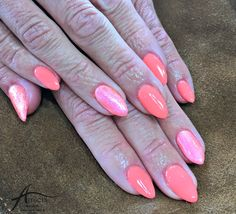 Neon peach biosculpture nails done by Anita! She used the evo gloss top coat
