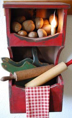 Primitive Wall Box Cupboard Cubby Kitchen Bath shelf