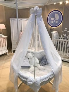 Heart Wicker Cradle with Canopy and Stand