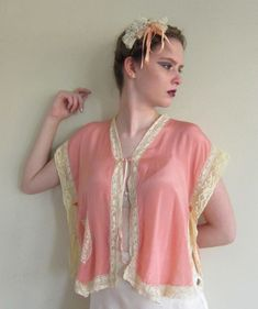 Vintage 1920s Bed Jacket Pink Silk Cream Lace 20s Lingerie Lacy Silk Blouse  Top b8dead8ef
