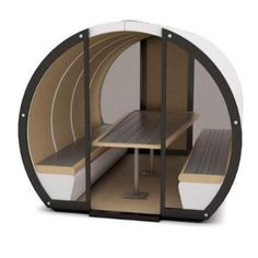 The Outdoor Meeting Pod offers the same modular design as the Meeting Pods with specially adapted waterproof materials to protect them from the weather, allowing them to be permanently located in an outside area. Office Pods, Office Meeting, Commercial Furniture, Modular Design, Wasting Time, Solar Panels, Seat Cushions, Office Furniture, Personal Space