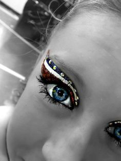 cheer makeup. A little excessive but good for competition maybe