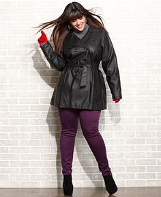 Dollhouse Plus Size Coat, Faux Leather Trench - Plus Size Coats - Plus Sizes - Macy's