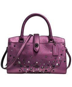 COACH Mercer Satchel 24 in Metallic Leather With Star Rivets Handbags    Accessories - Macy s 3c40494d01