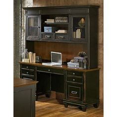 Graceful corner desk units to inspire you Office Desk With Hutch, Computer Desk With Hutch, Desk Hutch, Desk With Drawers, Corner Desk, Corner Furniture, Office Furniture, Furniture Ideas, Bookshelf Desk