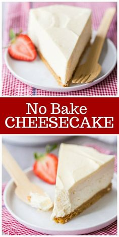 This No Bake Cheesecake recipe is perfect for making on a hot day. This creamy classic cheesecake recipe with a graham cracker crust requires zero baking time. Refrigerate for four hours, and your cheesecake is finished! Oreo Cheesecake, Easy No Bake Cheesecake, Baked Cheesecake Recipe, Homemade Cheesecake, Raspberry Cheesecake, Pumpkin Cheesecake, Chocolate Cake Recipe Easy, Chocolate Cookie Recipes, Caramel Cookies